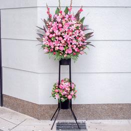 色指定2段スタンド花(ピンク)