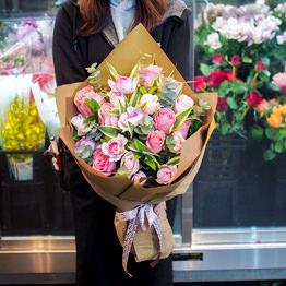 ピンクバラの花束 ワンサイド