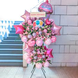 色指定超豪華バルーンスタンド2段(ピンク)