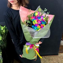 レインボーローズの花束 ワンサイド